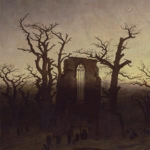 """Utsnitt av """"Klosteret i eikeskogen"""", av Caspar David Friedrich."""