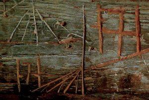Desse to kongemonogramma fortel at denne kverna nok var brukt under krigen.