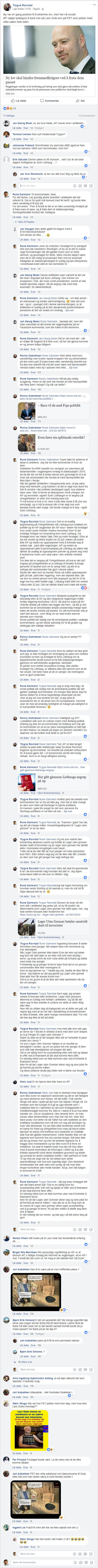Skjermdump av diskusjonstråd på¨Facebook.
